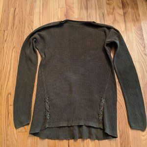 Army Green Knit Sweater with Ties